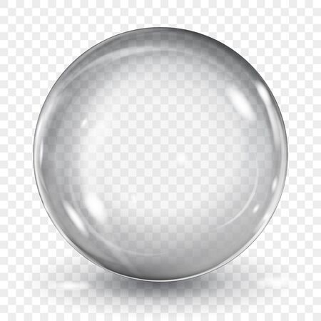 Big translucent gray sphere with glares and shadow on transparent background. Transparency only in vector format Illusztráció