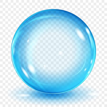 Big translucent light blue sphere with glares and shadow on transparent background. Transparency only in vector format Archivio Fotografico - 135502913