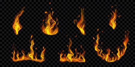 Set of translucent burning campfires and fire flames with sparks on transparent background. For used on dark illustrations. Transparency only in vector format