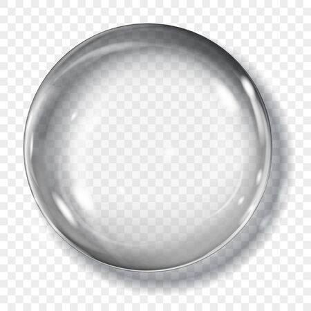 Big translucent gray sphere with glares and shadow on transparent background. Transparency only in vector format Archivio Fotografico - 135502914