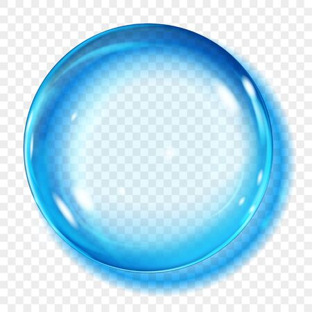 Big translucent light blue sphere with glares and shadow on transparent background. Transparency only in vector format Archivio Fotografico - 135502916