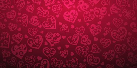 Background of big and small hearts with ornament of curls, in crimson colors