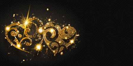 Valentine's day card with two shiny hearts of golden sparkles with glares and shadows on dark background