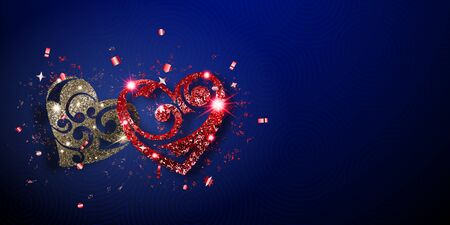 Valentine's day card with two shiny hearts of silver and red sparkles with glares and shadows on blue background