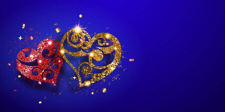 Valentine's day card with two shiny hearts of red and golden sparkles with glares and shadows on blue background