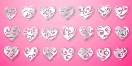 Set of white heart symbols with curls, glares and shadows on pink background Vectores
