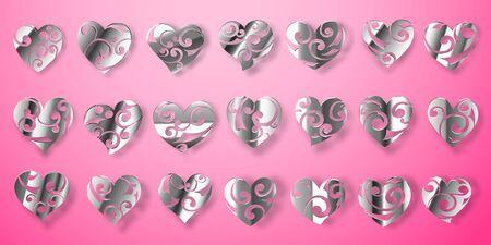 Set aus glänzenden silbernen Herzsymbolen mit Locken, Blendungen und Schatten auf rosa Hintergrund