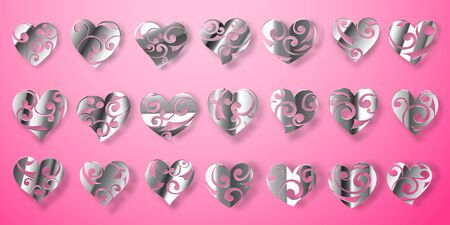 Set of shiny silver heart symbols with curls, glares and shadows on pink background