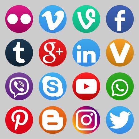 VORONEZH, RUSSIA - JANUARY 05, 2020: Set of color popular social media icons: youtube, instagram, twitter, facebook, whatsapp, pinterest, snapchat, vimeo, google+, skype, viber and others