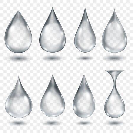 Ensemble de gouttes d'eau translucides de couleurs grises de différentes formes, isolées sur fond transparent. Transparence uniquement en format vectoriel