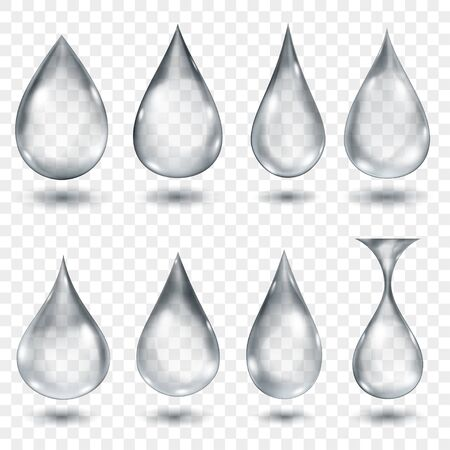 Set of translucent water drops in gray colors in various shapes, isolated on transparent background. Transparency only in vector format