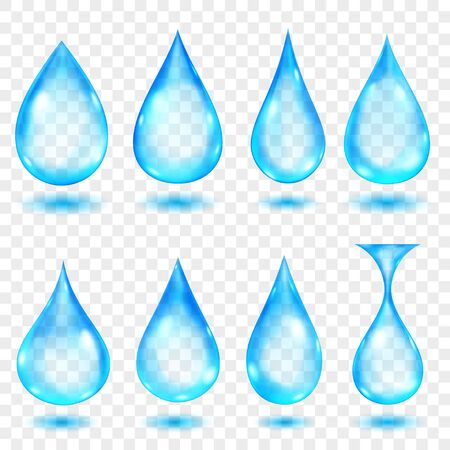 Set of translucent water drops in light blue colors in various shapes, isolated on transparent background. Transparency only in vector format