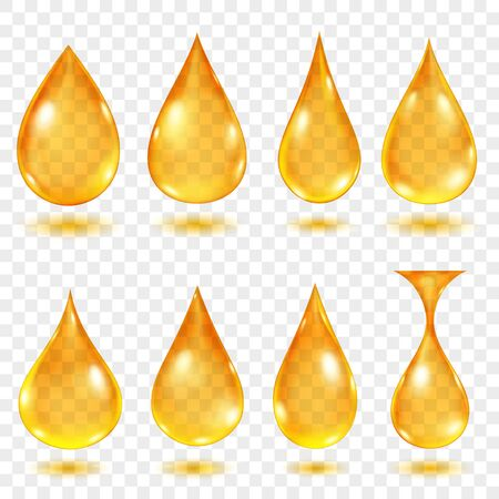 Set of translucent water drops in yellow colors in various shapes, isolated on transparent background. Transparency only in vector format