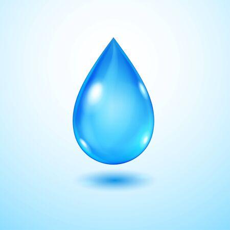 Een grote realistische doorschijnende waterdruppel in blauwe kleuren met schaduw Vector Illustratie