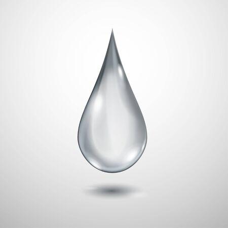 Une grosse goutte d'eau translucide réaliste en couleurs grises avec ombre
