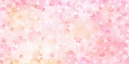 Spring background of various flowers in pink and peach colors