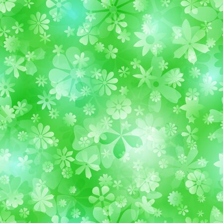 Spring seamless pattern of various flowers in green colors