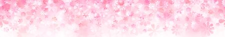 Spring horizontal banner of various flowers in pink colors
