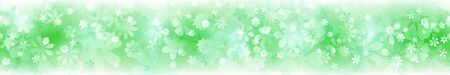 Spring horizontal banner of various flowers in green colors