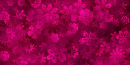 Spring background of various flowers in crimson colors