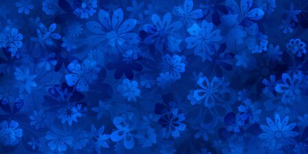 Spring background of various flowers in blue colors