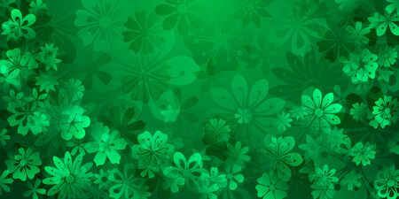 Spring background of various flowers in green colors Vectores