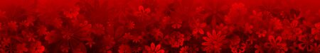 Spring banner of various flowers in red colors with seamless horizontal repetition