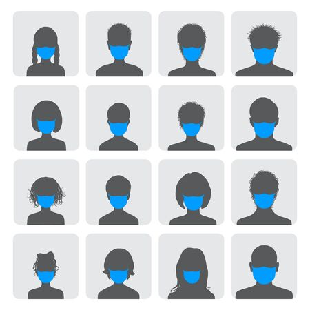 Set of square avatars in medical masks. Black silhouettes of masked men and women on a white background. Vector Illustration