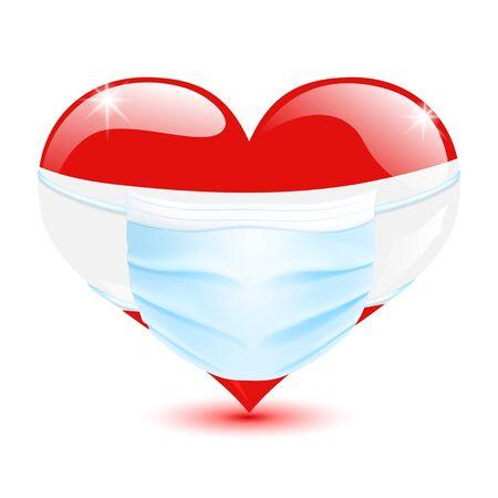 Coeur aux couleurs du drapeau autrichien avec un masque médical pour la protection contre le coronavirus Vecteurs