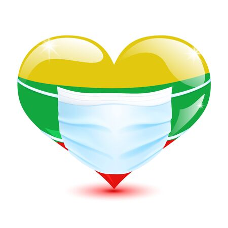 Heart in the Lithuania flag colors with a medical mask for protection from coronavirus Векторная Иллюстрация