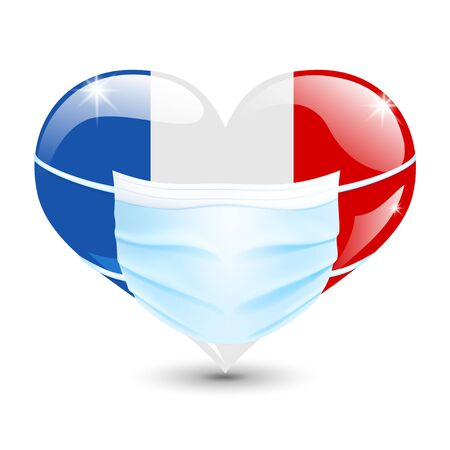 Heart in the France flag colors with a medical mask for protection from coronavirus Ilustración de vector