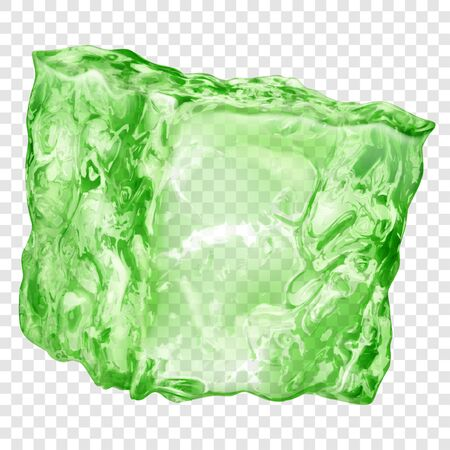 Realistic translucent ice cube in green color isolated on transparent background. Transparency only in vector format 矢量图像