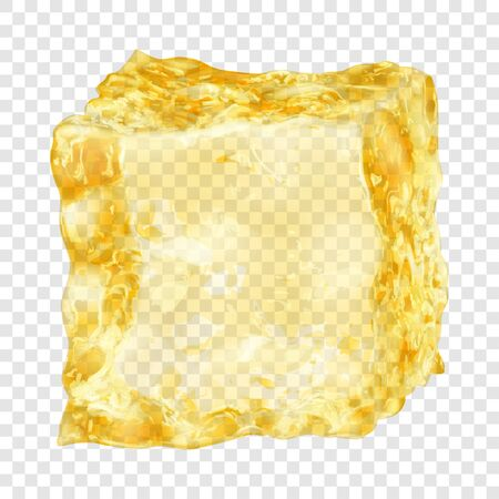 Realistic translucent ice cube in yellow color isolated on transparent background. Transparency only in vector format