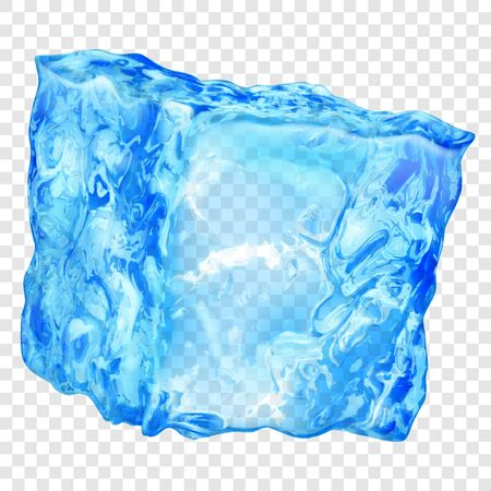 Realistic translucent ice cube in light blue color isolated on transparent background. Transparency only in vector format