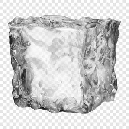Realistic translucent ice cube in gray color isolated on transparent background. Transparency only in vector format