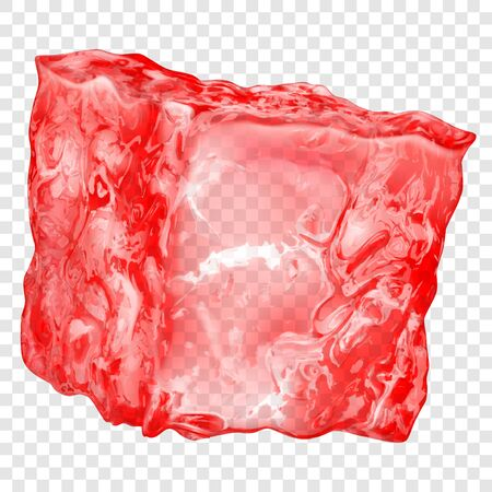 Realistic translucent ice cube in red color isolated on transparent background. Transparency only in vector format 矢量图像