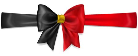 Big bow made of ribbon in Belgium flag colors with shadow on white background  イラスト・ベクター素材