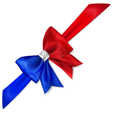 Big bow made of ribbon in France flag colors with shadow on white Ilustracje wektorowe