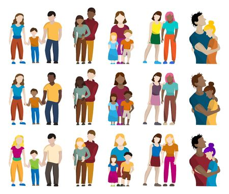 Set of colored silhouettes of different people: men, women, children, families Ilustración de vector