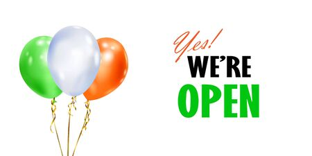 Illustration with several colorful balloons with ribbons and inscription WE ARE OPEN on white background
