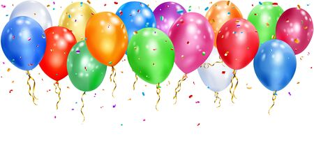 Illustration of colorful balloons with ribbons and shiny pieces of serpentine on white background