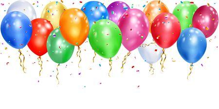 Illustration von bunten Luftballons mit Bändern und glänzenden Serpentinstücken auf weißem Hintergrund