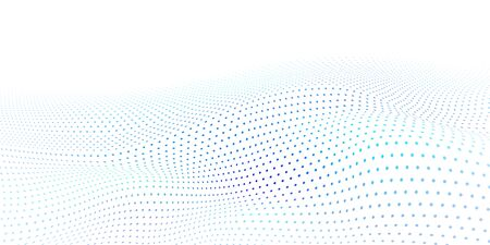 Abstract halftone background with wavy surface made of light blue dots on white