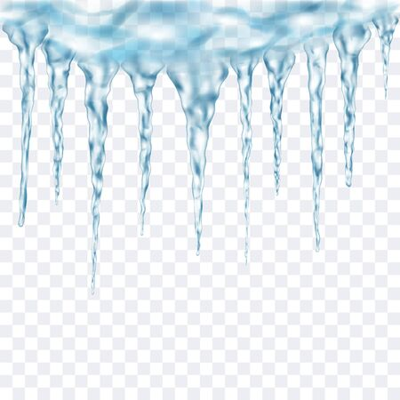 Group of translucent light blue realistic icicles of different lengths connected at the top. For use on light background. Transparency only in vector format