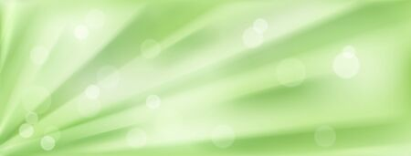 Abstract background with radial rays or folds and bokeh effects in green colors