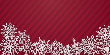 Christmas background with paper snowflakes with soft shadows on red striped background