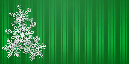Christmas background with several paper snowflakes with soft shadows on green striped background