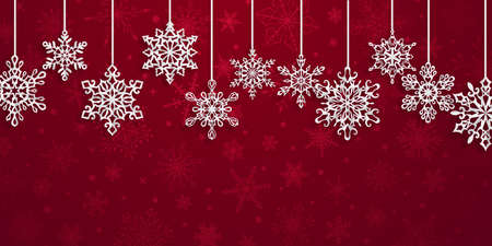 Christmas background with hanging paper snowflakes with soft shadows on red background