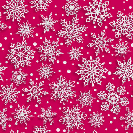 Christmas seamless pattern of paper snowflakes with soft shadows on red background Vetores