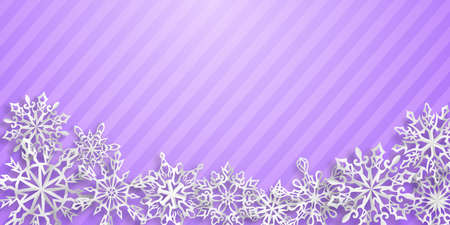 Christmas background with paper snowflakes with soft shadows on light purple striped background
